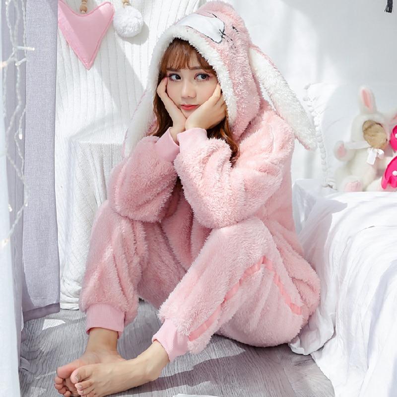 Pijama Women Adult Sleepwear Pyjamas Femme Cute Rabbit CoralFleece Thicken Pijamas Girl Two-Piece Pajama Set Nightwear 1