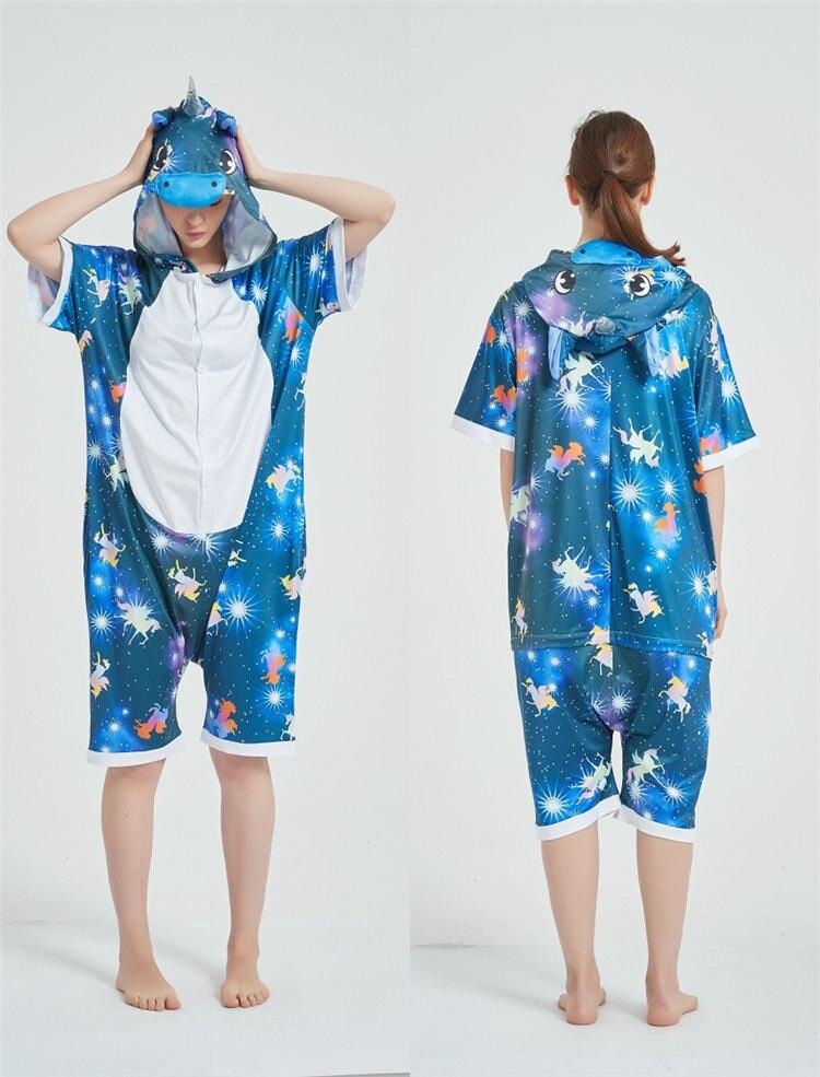 Rainbow Unicorn Kigurumis Women Onesie Cosplay Short Sleeve Animal Jumpsuits Pegasus Girl Pajama Funny Cute HomeWear Costume 9