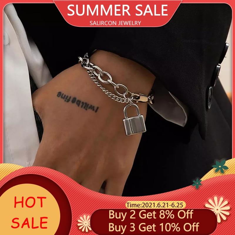 Salircon Kpop Stainless Steel Lock Pendant Bracelet on Hand Punk Chain Women Men Bracelets Charm Couple Bracelet Jewelry Gift 1