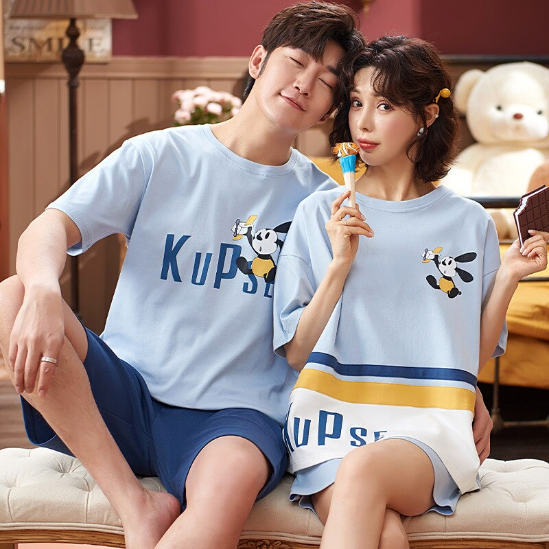 Cartoon Women Couples Pajamas Set Men Summer Pyjamas Short Sleeve Sleepwear Homewear Pijama Femme Nightgowns Nightwear XXXL 4
