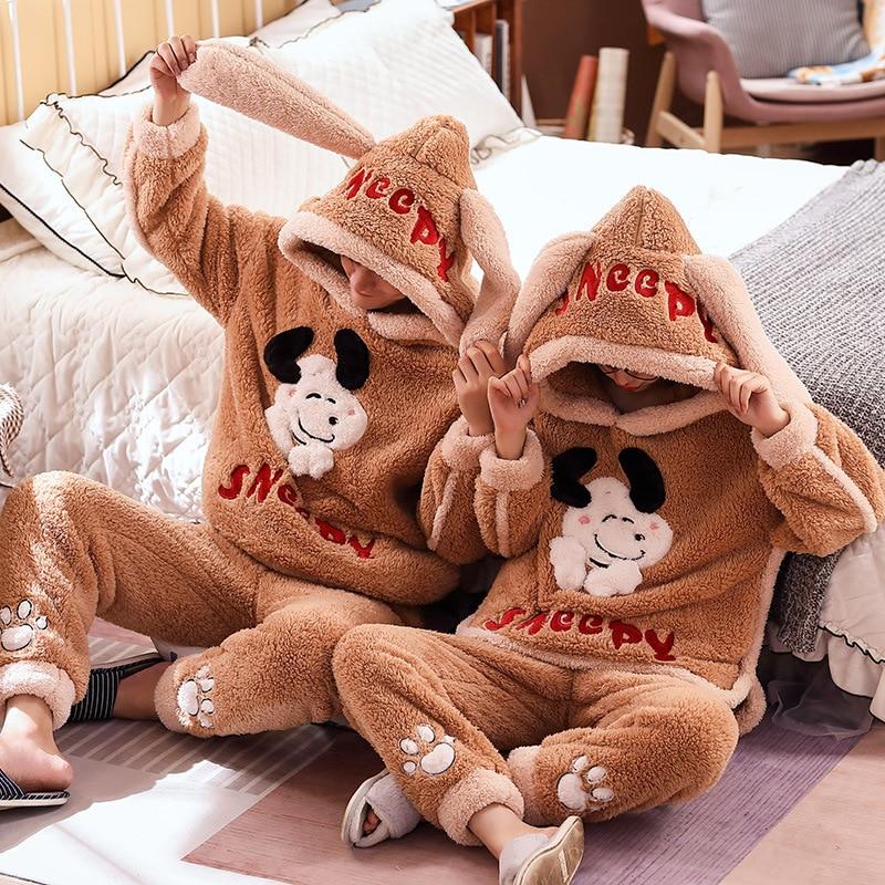 Couple Pajamas Set Winter Thicken Pijamas suit Cartoon Sheep Hooded Home wear Cute Pijama Two Piece Suit Pijamas Lovers Pyjama 1