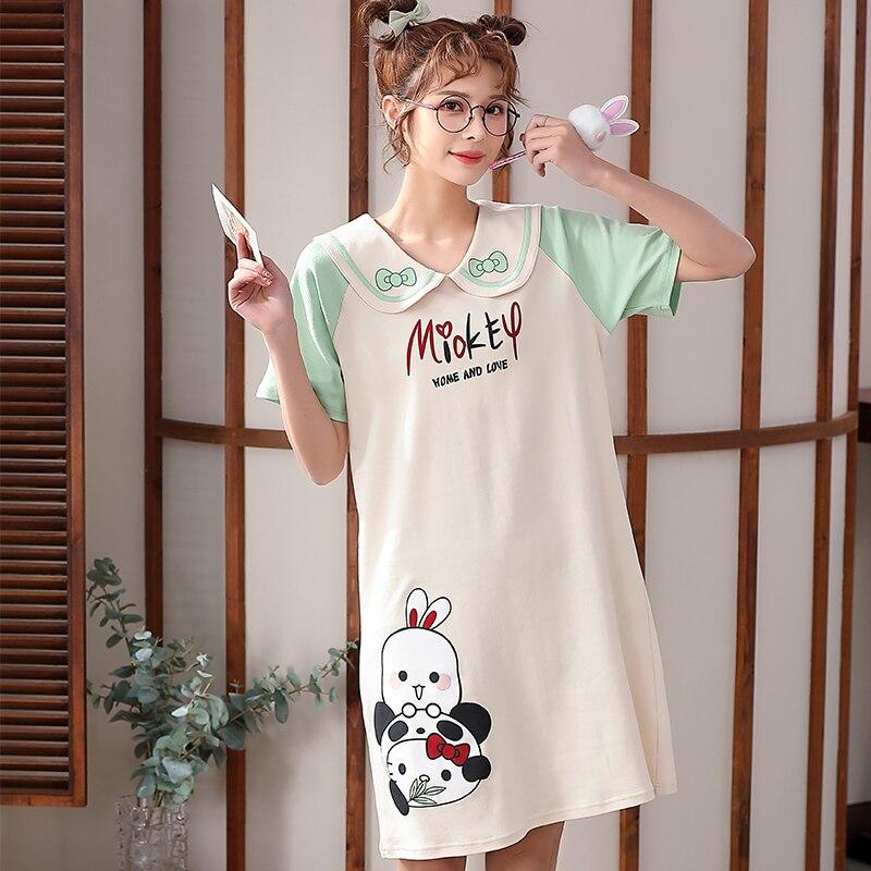 2021 New Women Nightgown Cartoon Panda Pattern Nightdress Sleepwear Girl Pajama Sets Homewear Korean Pijamas Female 3