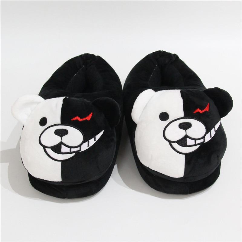 2021 Plush Slippers Women Men Monokuma Kigurumis Black White Anime Bear HomeShoes Cartoon Cute House Slipper 5