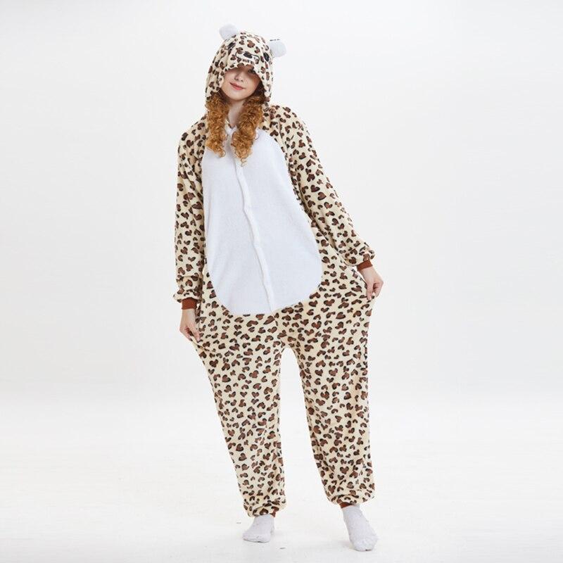 Leopard bear Animal Women Pajama Suit Onesie Kigurumis Homewear Sleepwear Flannel Soft One Piece Unisex Pijamas Party Costume 3