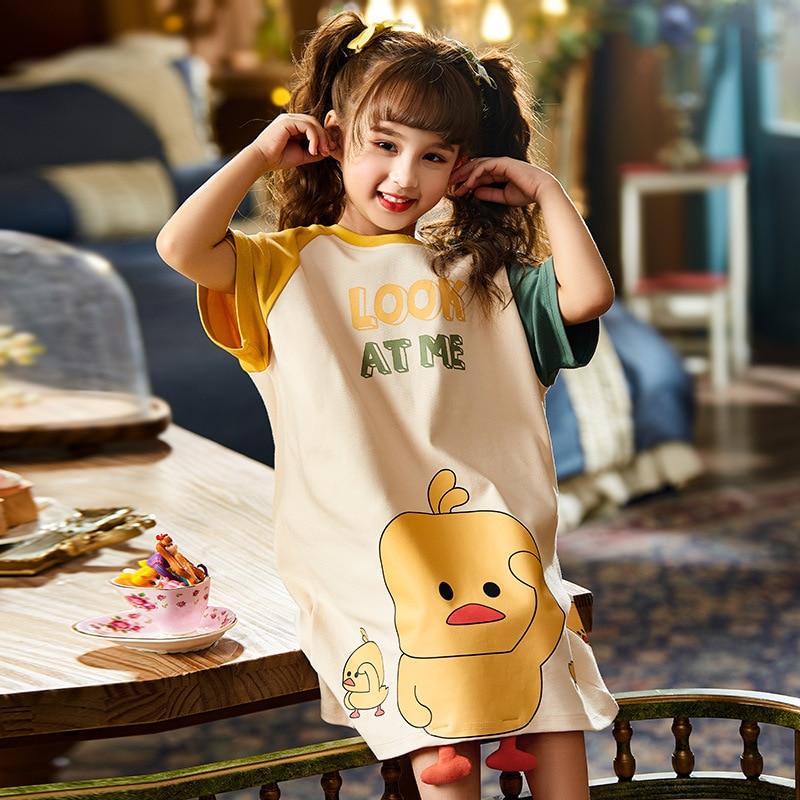 Summer Children Nightdress Sleepwear Dress Cartoon Cute Chick Printing Girls Nightgown Dressing Gown Child Loose Soft Leisure 1