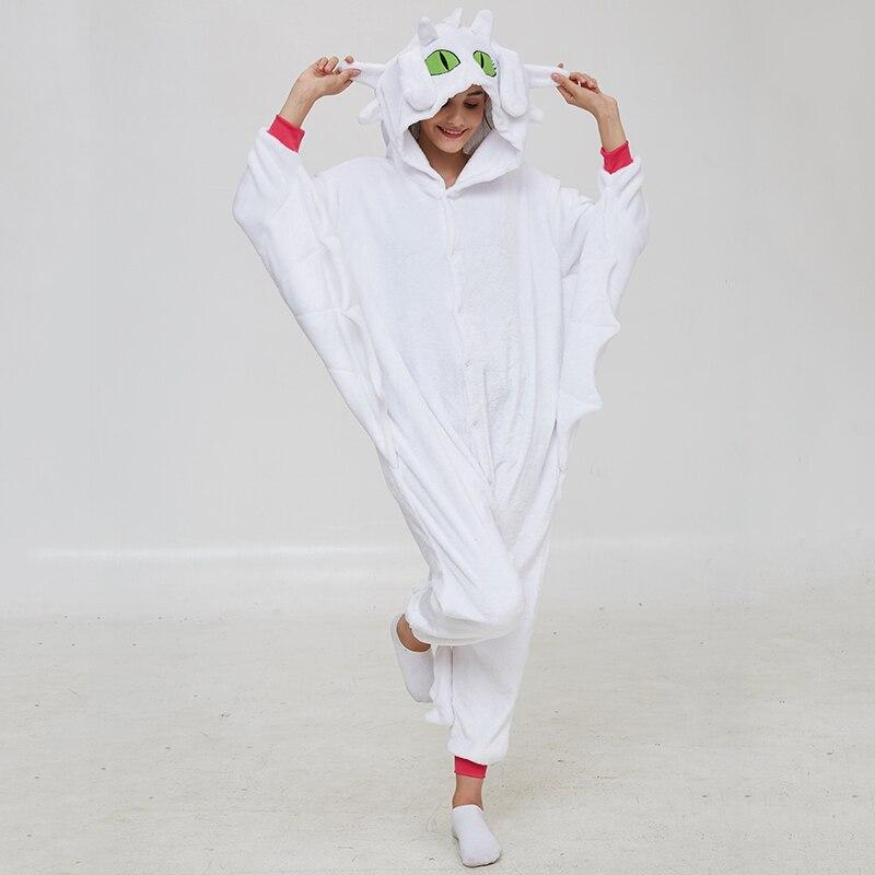 Animal Kigurumis Onesies Women Pajama Homewear Adult Cartoon Toothless Dragon Rompers Unisex Flannel Sleepwear Costume Apparel 5
