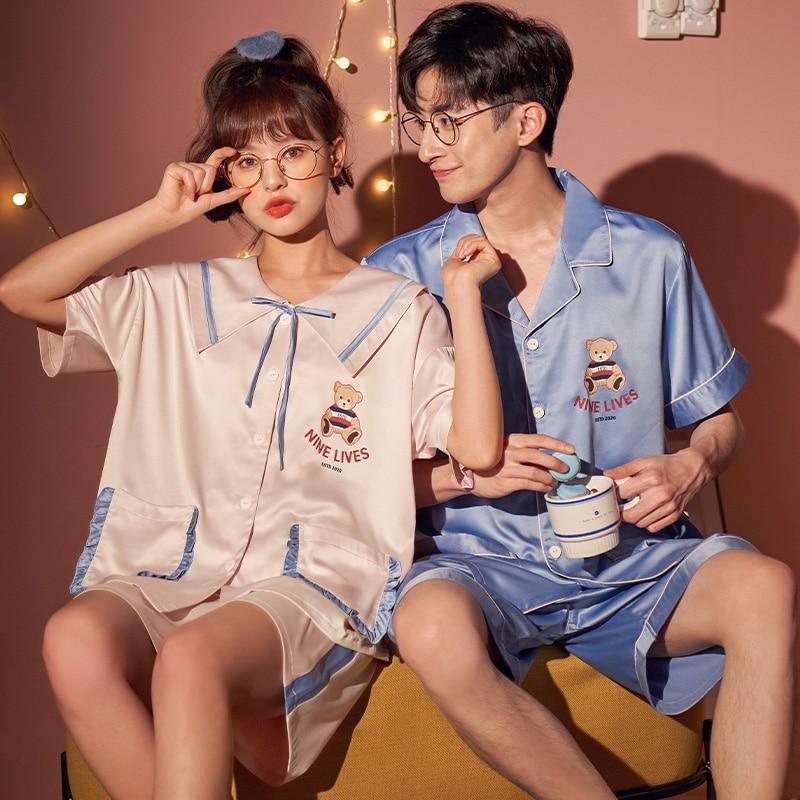 IceSilk Summer Couples Pajamas Sets Women Men Cartoon Bear Sleepwear Pyjamas SilkCloth PreppyStyle Boys Girls Lovers Nightgow 1