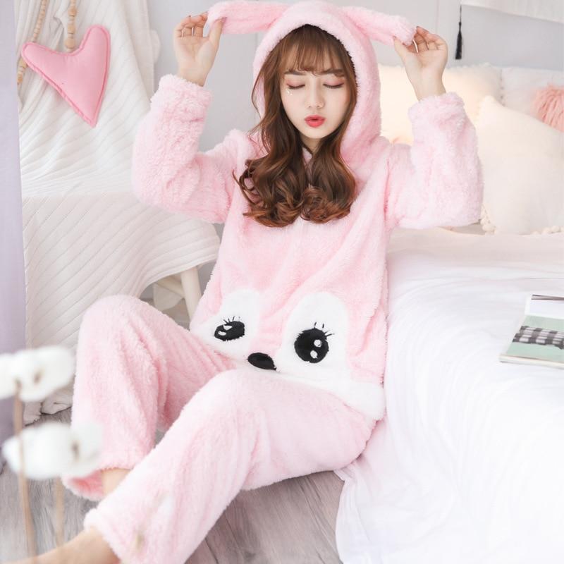 Animal Pyjamas Women Plush Thicken Pajama Set Cute Fox Nightwear Sleepwear Pijama Mujer Loose Two-piece Homewear 1
