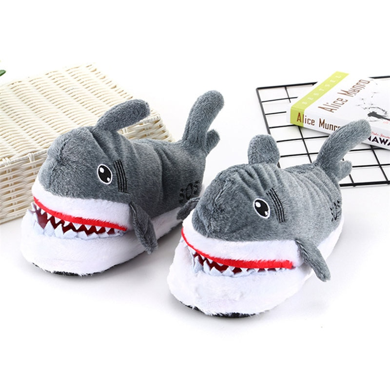 Cartoon Shark Slippers Adult Shoes Kigurumis Cute Girl Shoes Winter Plush Slippers Cosplay Household Shoes Women Supplies 1