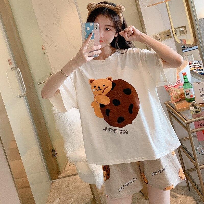 Women Pajamas Sets Cartoon Cotton Bear Print Pattern Pajamas ShortSleeve Homewear Sleepwear Loose Pijamas Female 3