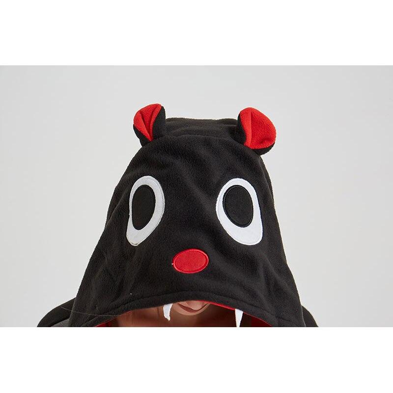 Black Bat Onesie Women Adult Animal Cartoon Kigurumis Polar Fleece Home Jumpsuit Funny Cute Overalls Girls Festival Pajama Suit 5