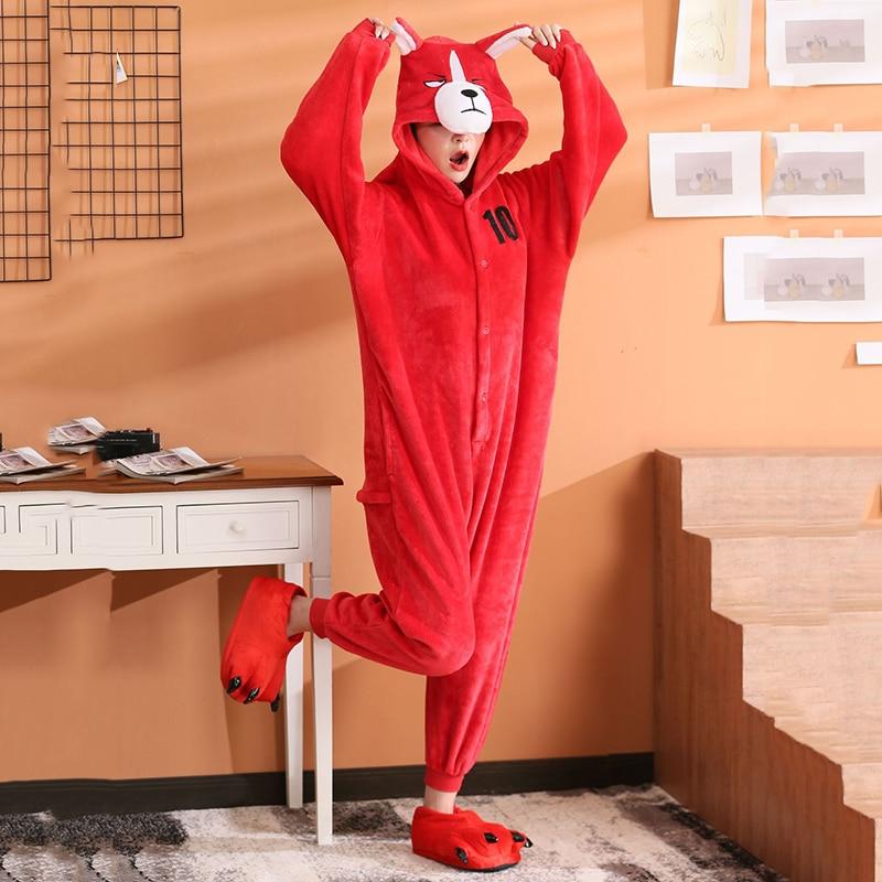Women FunnyOnesies Shiba Inu Kigurumis Red Dog Pajama Couple Sleep Wear Animal Akita Jumpsuit  Adult Girls Party Overalls Outfit 1