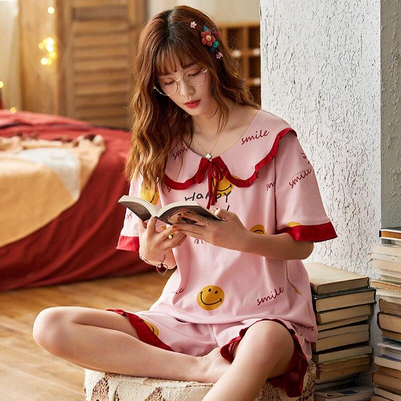 2PCS Women Pijama Casual Nightclothes Cotton Cartoon Pyjamas  Navy Collar Girl Sleepwear Home wear Pajama Shorts Femme Plus Size 3
