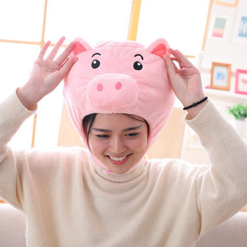 Pig Hat Cartoon Anime Funny Headwear Animal Cosplay Unisex Party Stage Performance Prop Pink / White / Gray 1