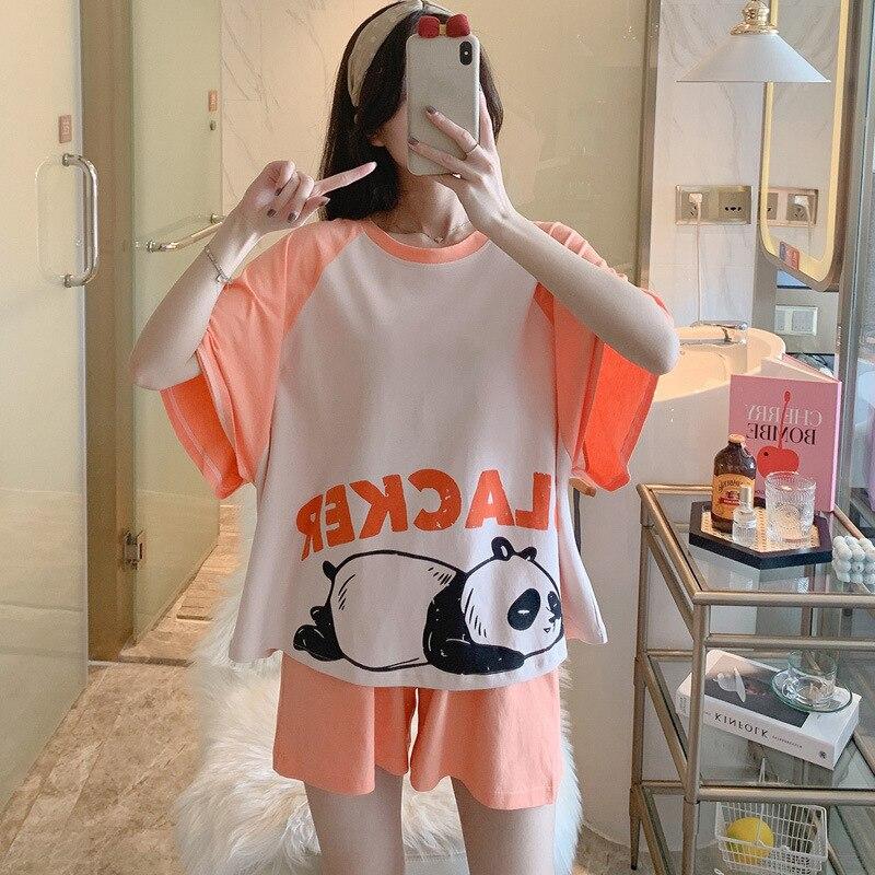 Women Pajamas Sets Cartoon Cotton Bear Print Pattern Pajamas ShortSleeve Homewear Sleepwear Loose Pijamas Female 4