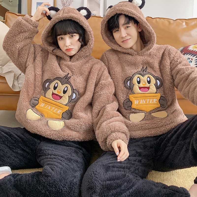 Couples Pajamas Sets Winter Thicken Women Men Pyjamas Sleepwear Cartoon Monkey Korean Lovers Homewear Hoodies SoftWarm Pijama 1
