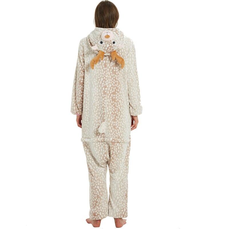 Milu Deer Animal Kigurumis Women Pajama Suit One Piece Adult Flannel Soft Pajamas Sleepwear Homewear Festival Party Costume 3