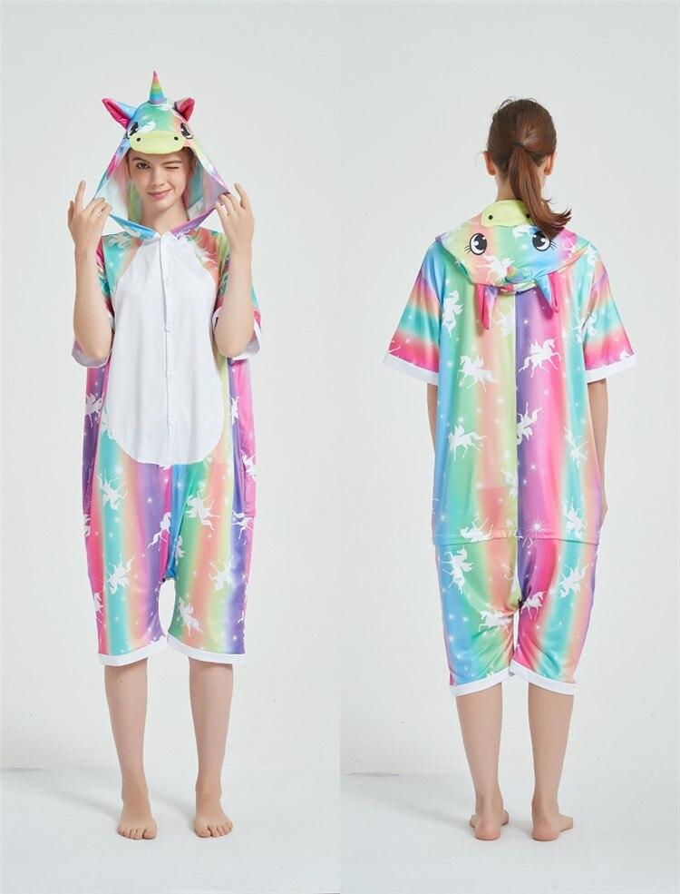 Rainbow Unicorn Kigurumis Women Onesie Cosplay Short Sleeve Animal Jumpsuits Pegasus Girl Pajama Funny Cute HomeWear Costume 13