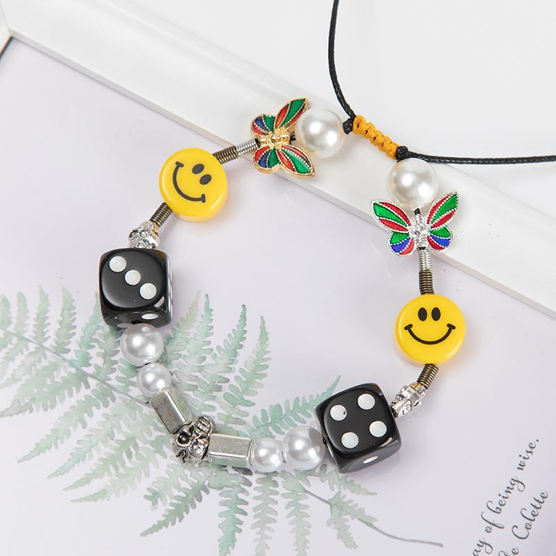 Kpop Fashion Rope Necklace for Men Dice Skull Pearl Yellow Smiley Face Multicolor Butterfly Necklace Hip Hop Bracelet 2020 New 3