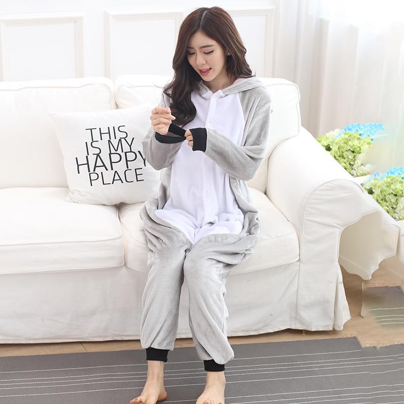 Animal Koala Sleepwear Gray Cute Pajama Adult Women Girl Kigurumis Winter Warm Soft Flannel Onesie Festival Party Outfit Overall 3