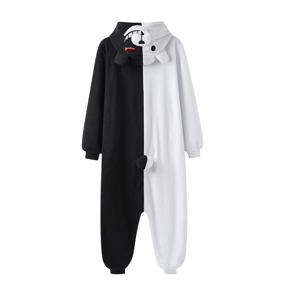 YESKIGU Monokuma Kigurumis Pajama Adult Onesie Anime Bear Jumpsuit Black White Animal Pajamas Women Halloween Party Suit Overall 2
