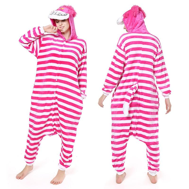 Cheshire Cat Kigurumis Onesie Women Funny Suit Cartoon Alice Jumpsuit Christmas Halloween Outfit Winter Soft Warm Home Sleepwear 1