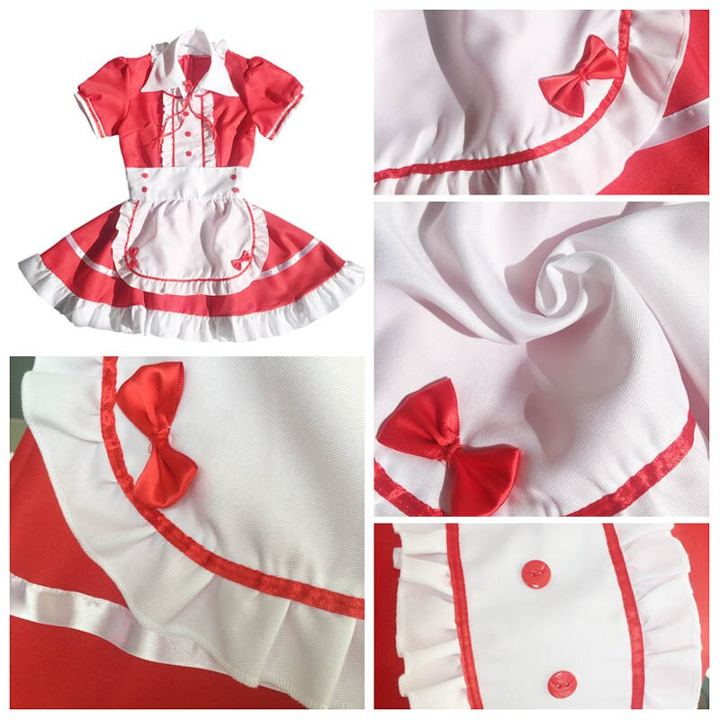 Maid Costume Japanese Anime Cosplay Sweet Classic Lolita Fancy Apron Maid Dress with Socks Gloves Set 3