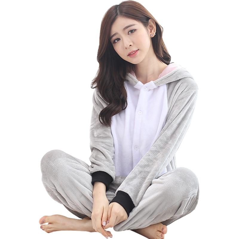 Animal Koala Sleepwear Gray Cute Pajama Adult Women Girl Kigurumis Winter Warm Soft Flannel Onesie Festival Party Outfit Overall 5