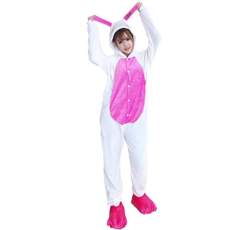 Kigurumis Women Pajamas Onesies Kawaii Rabbit Flannel Homewear One Piece carnival Sleepwear Clothing Pajama Party Costume 1