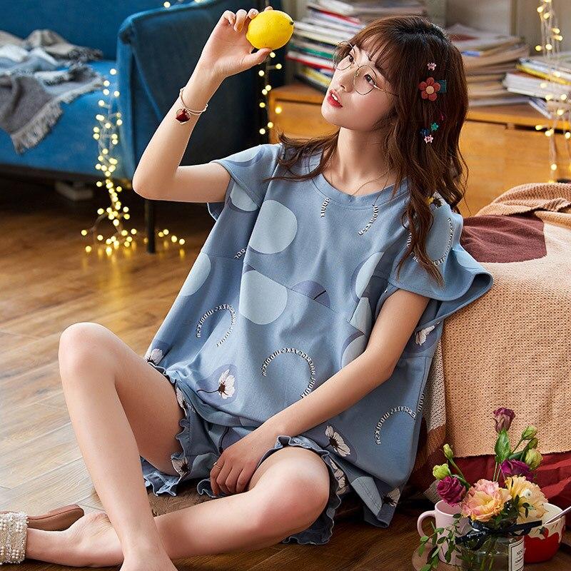 2PCS Women Pijama Casual Nightclothes Cotton Cartoon Flowers Pyjamas Girl Sleepwear Home wear Pajama Shorts Femme Plus Size 4