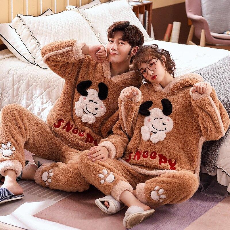 Couple Pajamas Set Winter Thicken Pijamas suit Cartoon Sheep Hooded Home wear Cute Pijama Two Piece Suit Pijamas Lovers Pyjama 2