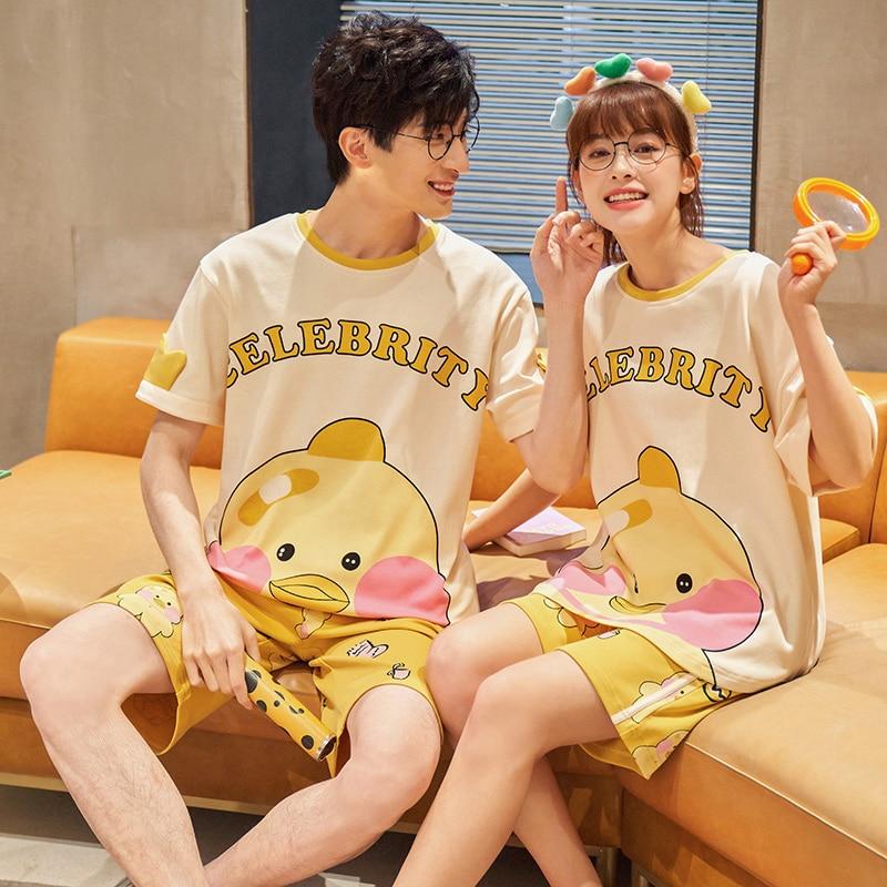 Couples Pajamas Sets Women Men Korean Cartoon Duck Pattern Lovers Pyjamas Sleepwear ShortSleeve Homewear Pijamas 2pcs 1