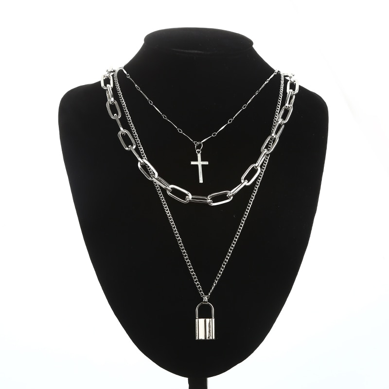 KPOP Layered Chain Necklace for Women Men Punk Fashion Cross Pendants Grunge Aesthetic Egirl Alternative Goth Jewelry Gifts 6