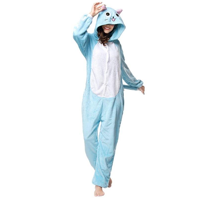 Kigurumis Animal Blue Cat Women Pajamas Onesies Flannel One Piece Homewear Clothing Sleepwear Pajama Costume 4