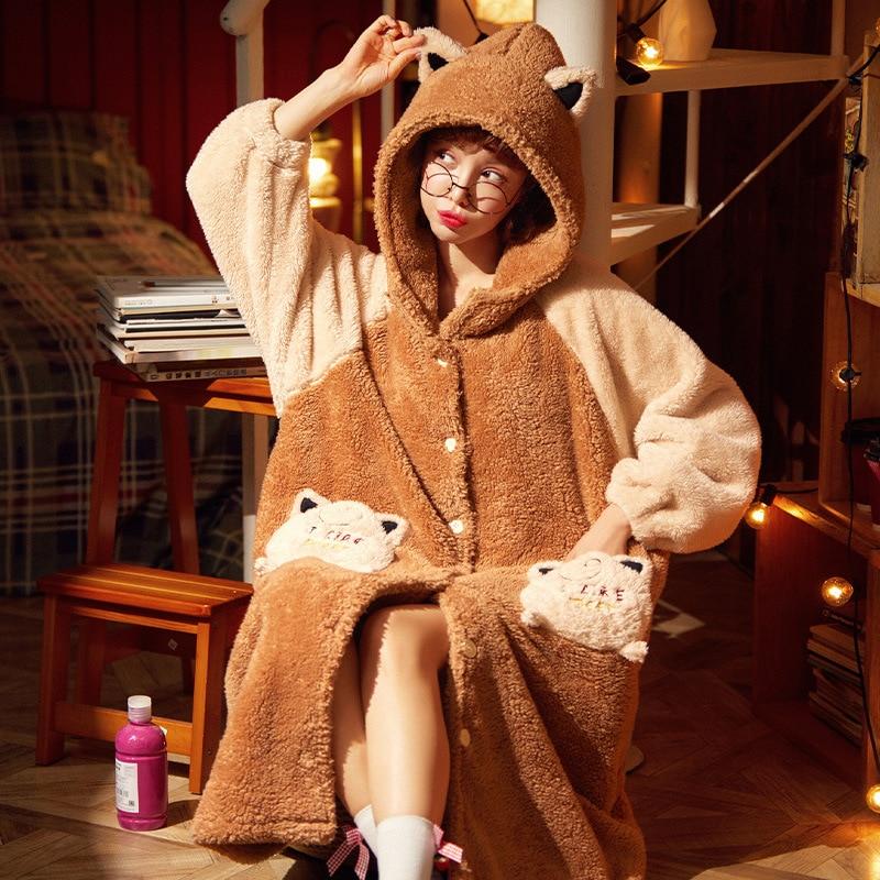 Thicken Night-robe Women Nightdress Cute Cartoon Bear Hooded bath robe Coral Fleece Warm Home wear Bathrobe PlusSize 1