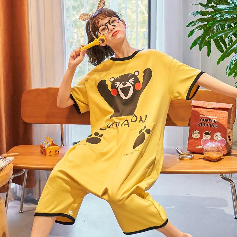 Summer Couple Pajamas Sleepwear Jumpsuit Cotton Cartoon Kumamoto Loose Pyjamas Women Men Cute Homewear Lovers Nightgowns Pajama 1