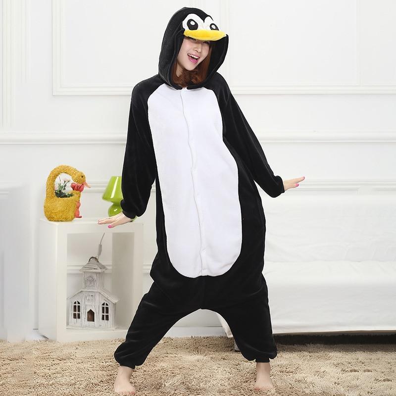 Winter Pajama Penguin Kigurumis Onesie Animal Black Funny Jumpsuit Women Girls Sleepwear Home Overalls Carnival Adult Outfit 1