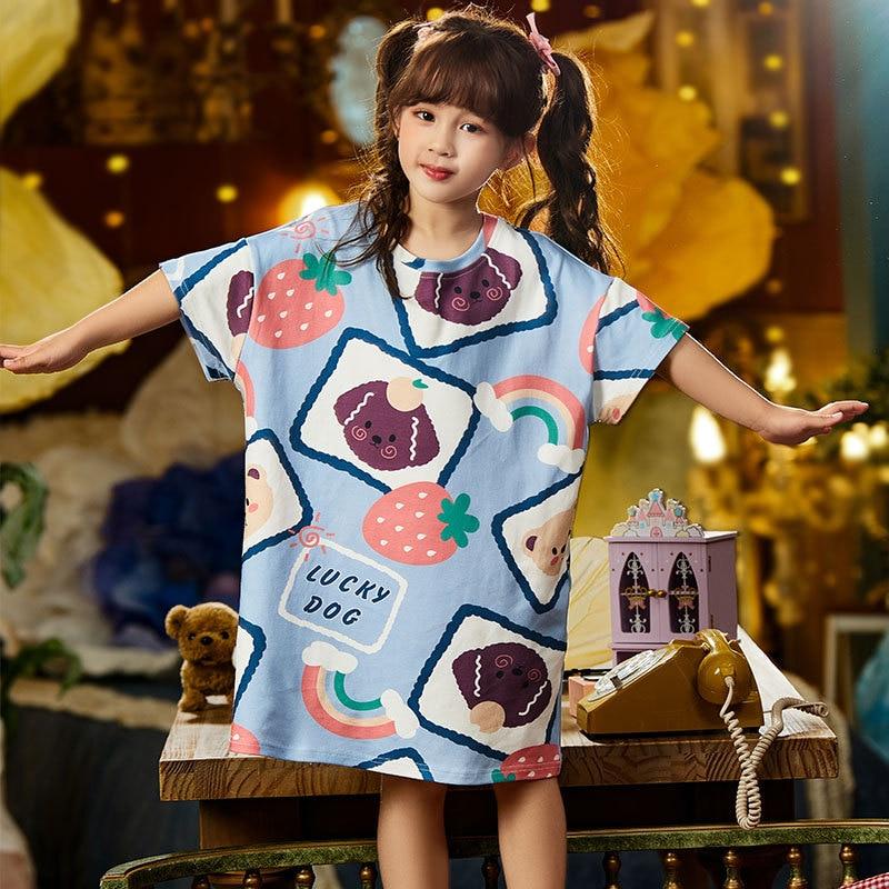 Summer Children Nightdress Sleepwear Cartoon Cute Bear Soft LeisureWear Girls Nightgown Dressing Gown Dress Child Loose Dress 3