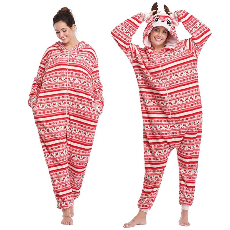 Christmas Milu deer Kigurumis Women Pajamas Onesies Flannel Homewear One Piece Sleepwear Clothing Festival Pajama Party Costume 1