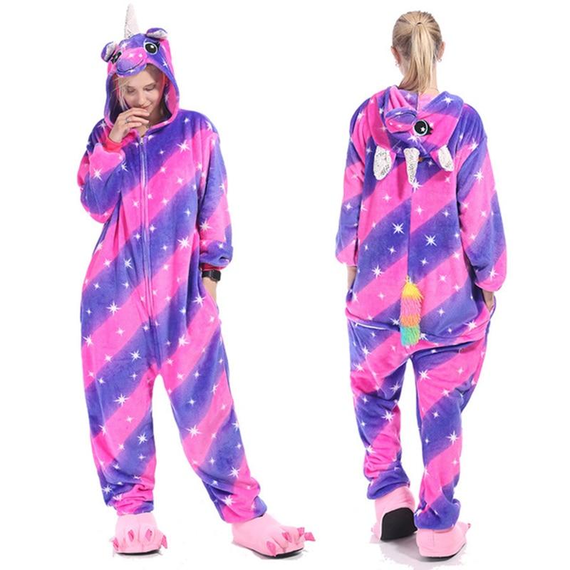 Kigurumis Animal Stars Diamond Pegasus Women Pajama Suit Onesie Homewear Sleepwear Flannel Adult One Piece Pijamas Party Costume 1