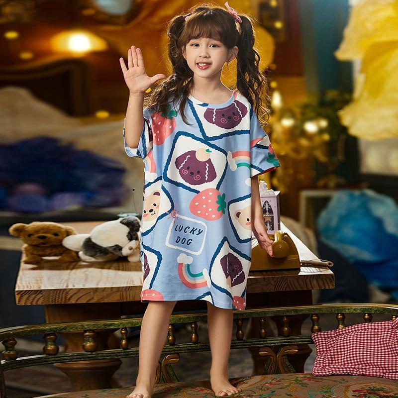 Summer Children Nightdress Sleepwear Cartoon Cute Bear Soft LeisureWear Girls Nightgown Dressing Gown Dress Child Loose Dress 2