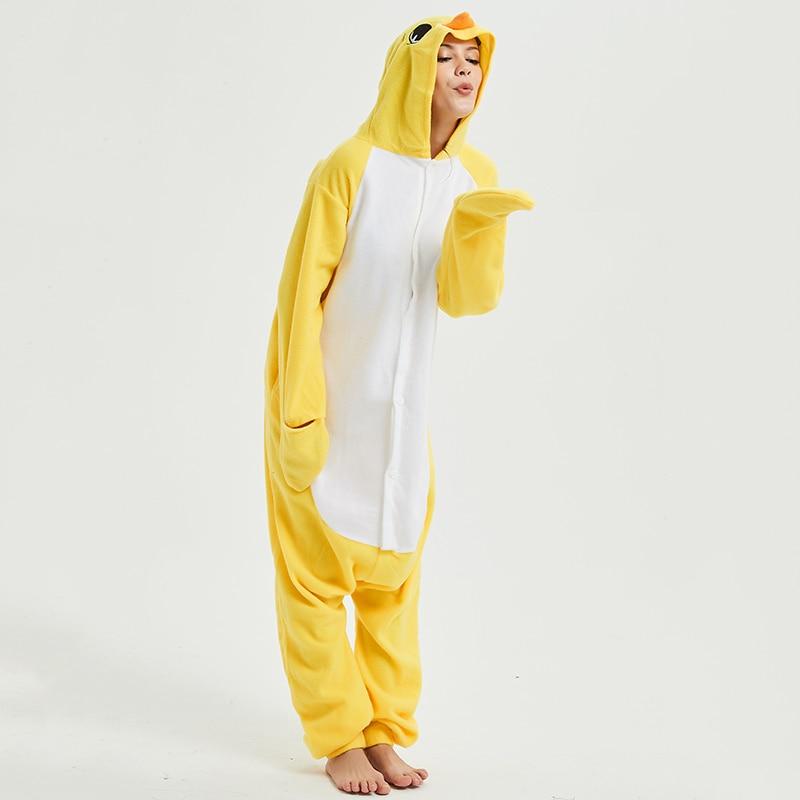 Yellow chick Animal Women Pajama Suit Sleepwear Homewear Adult Onesie Funny Polar Fleece Winter Pijamas Party Costume Plus Size 2