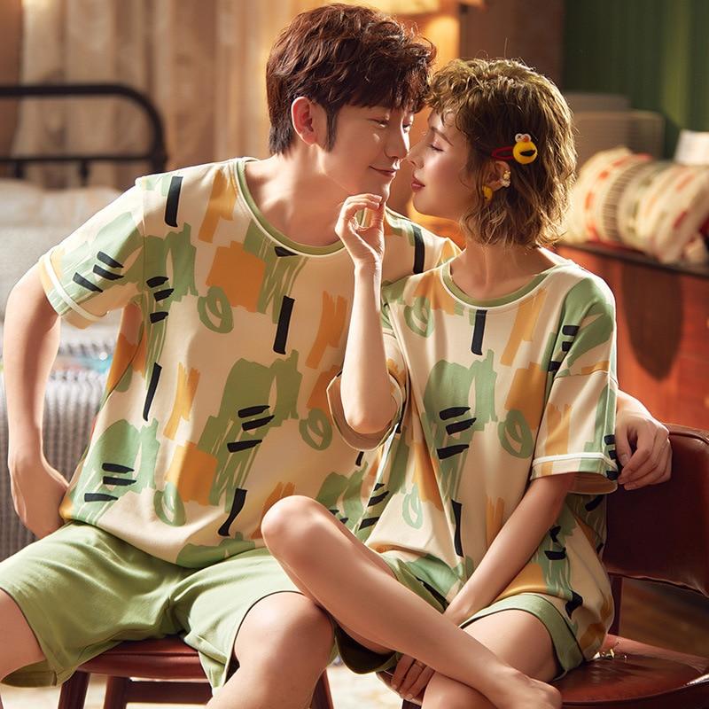 2020 Couple Pajamas Set Cartoon Summer Homewear Sleepwear Cotton Pyjamas Women Men Lovers Pajama Nightgowns Nightwear Plus Size 1