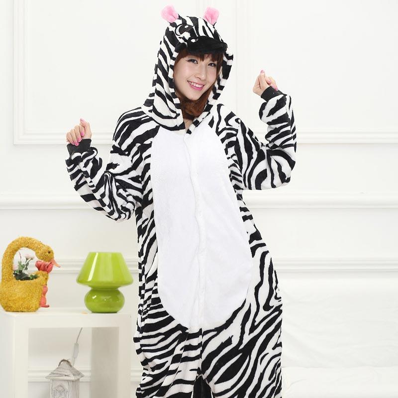 Animal Kigurumis Zebra Onesie Pajama Women Girl Home Jumpsuit Funny Winter Warm Sleepwear Halloween Party performance Outfit 1
