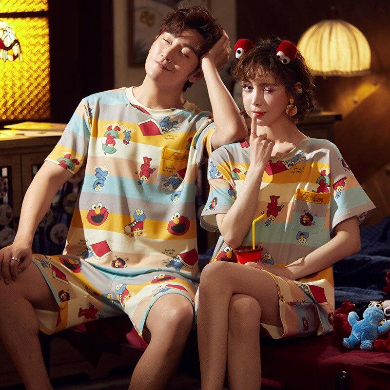 Cotton Couple Pajamas Set Short Sleeve Cartoon ELMO Pyjamas Summer Homewear Sleepwear Pijama Femme Nightgowns Nightwear XXXL 5