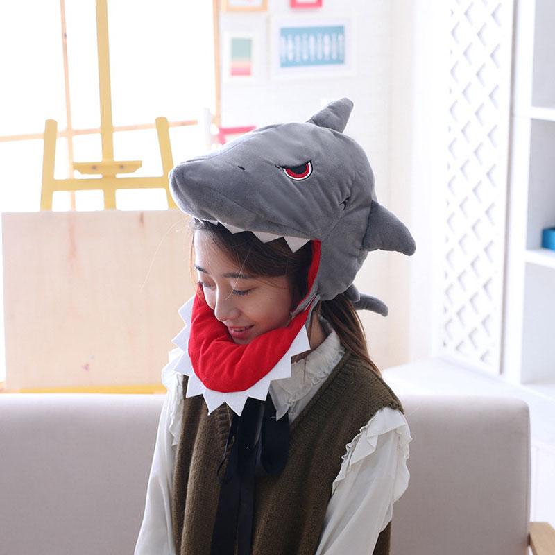 Funny Shark Hat Gray Cartoon Anime Headgear Animal Cosplay Men Women Party Festival Holidays Stage Performance Prop 1