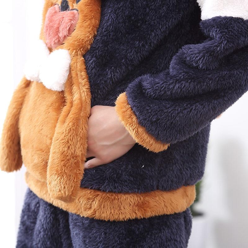 Couples Pajamas Set Hoodie Winter Flannel Pyjamas Women Men Thicken Sleepwear Animal Mouse Warm Festival Pijama Homewear 2PCS 4