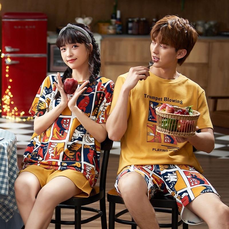 Summer Women Couples Pajamas Night Sleepwear Cotton Bear  Nightgown Pajama Sets lady Homewear Gril Clothing Home Clothes XXXL 1