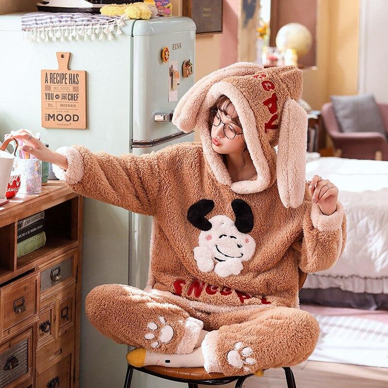 Couple Pajamas Set Winter Thicken Pijamas suit Cartoon Sheep Hooded Home wear Cute Pijama Two Piece Suit Pijamas Lovers Pyjama 5