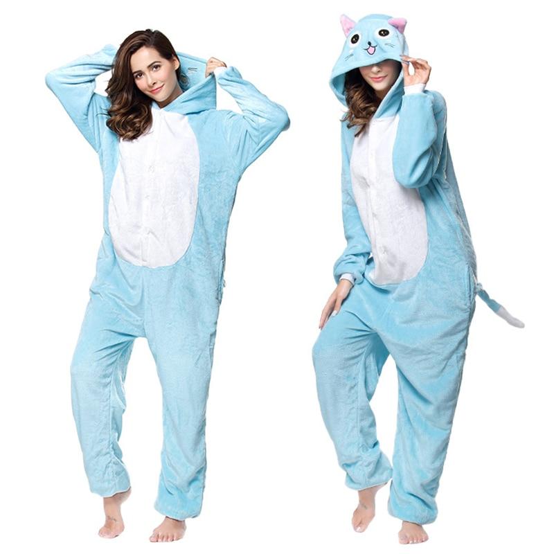 Kigurumis Animal Blue Cat Women Pajamas Onesies Flannel One Piece Homewear Clothing Sleepwear Pajama Costume 1